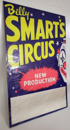 Original Vintage Retro Circus Poster - Billy Smart's Circus Blank Advertising Space Large Colorful 20 x 30 Printed In England
