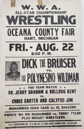Original Wrestling Promotional Poster WWA All-Star Wrestling Dick The Bruiser vs. The Polynesino Wildman & Tag Teams Plus Midget Wrestlers