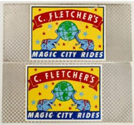 Original Vintage Retro Circus Poster On Metal - C. Fletcher's Magic City Rides Poster Panels