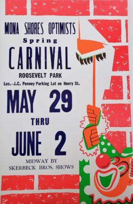 Original Retro Circus Poster - Skerbeck Bros. Mona Shores Optimists Spring Carnival Roosevelt Park