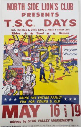 Original Vintage Retro Circus Poster - North Side Lion's Club T.S.C. Days