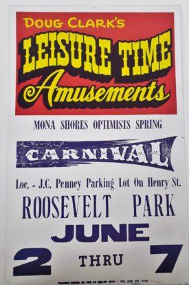 Original Vintage Retro Circus Poster - Doug Clark's Leisure Time Amusements Mona Shores Optimists Springs Carnival