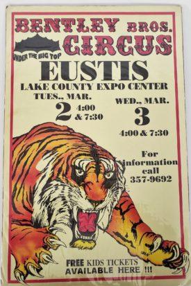 Original Vintage Retro Circus Poster - Bentley Bros. Circus Lake County Expo Center