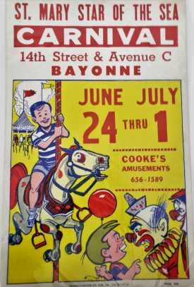 Original Vintage Retro Circus Poster - St. Mary Star of the Sea Carnival Bayonne Cooke's Amusements