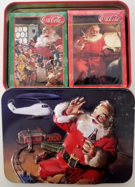 Coca-Cola Playing Cards In Season's Greeting's Tin Santa Train Set Helicopter