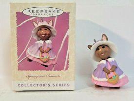Hallmark Keepsake Easter Ornament Springtime Bonnets Bunny Basket Eggs #5 1997