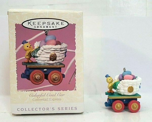 Hallmark Keepsake Ornament Easter COLORFUL COAL CAR Cottontail Express 1997