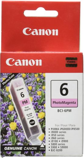 Canon BCI-6 Photo Magenta Ink Tank Compatible to iP8500, iP6000D, i9900, i9100, i960, i950, i900D, S9000, S900, S830D, S820D, S820, S800, BJC8200, 13 ML (4710A003)