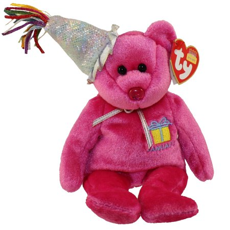 Ty Beanie Baby - January Pink Bear w/Party Hat, Birthday Beanie Collection