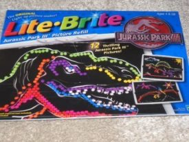 2001 Hasbro Lite Brite Jurassic Park III Picture Refill 12 Pages