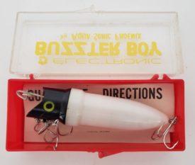 Vintage 1960 Buzzter Boy Electronic Fishing Lure by Aqua-Sonic, White