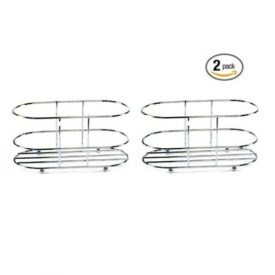 Chrome Wire Basket Oval 6 x 3.25 x 3 - 2 Pack Gift Bundle