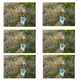6-Pack: Outdoor Garden Copper Colored Turtle Spinner & Trellis Yard Art No. 715