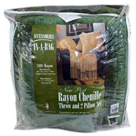 Accessories In A Bag New Port Rayon Chenille Throw and 2 Pillows Set No. 6499...