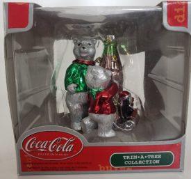 "Rare Coca-Cola Trim A Tree Polar Bear Family And Penguin On Coke Sled Ornament 3"""