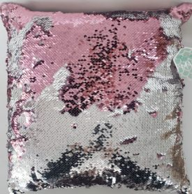 """Let's Be Mermaids Magic Sequins Pink/Silver Sequin Decorative Colorful Throw Pillow 16"""" x 16"""""""
