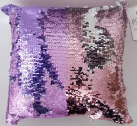 """POSH HOME Magic Sequins Pink/Purple/Silver Sequin Decorative Colorful Throw Pillow 12"""" x 12"""""""