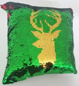 """POSH HOME Magic Reindeer Green/Red/Silver/Gold Sequins Decorative Colorful Throw Pillow 12"""" x 12"""""""