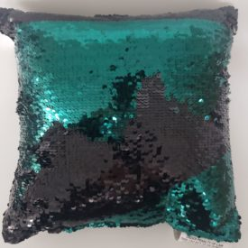 "POSH HOME Magic Green & Black Sequins Decorative Colorful Throw Pillow 12"" x 12"""
