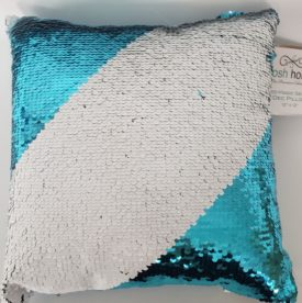 "POSH HOME Magic Aqua Blue/White Sequins Decorative Colorful Throw Pillow 12"" x 12"""