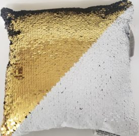 "POSH HOME Magic Gold/White & Black/Silver Sequins Decorative Colorful Throw Pillow 12"" x 12"""