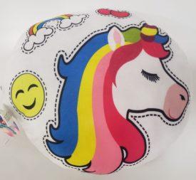 Girls Room Décor Colorful & Fun Rainbow Unicorn Plush Pillow - White