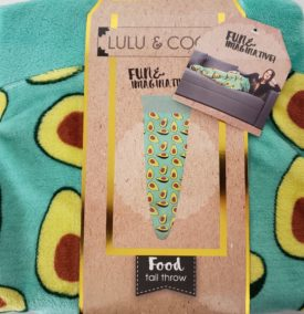 """Lulu & Coco Avocado Tail Throw Blanket Cover Relax Cozy 18"""" x 52"""" Novelty Fun Gift"""