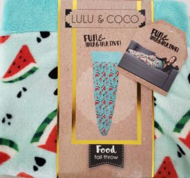 """Lulu & Coco Watermelon Tail Throw Blanket Cover Relax Cozy 18"""" x 52"""" Novelty Fun Gift"""