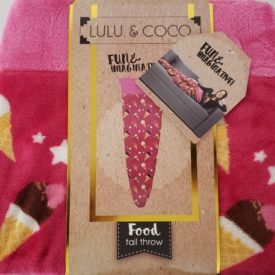 """Lulu & Coco Ice Cream Tail Throw Blanket Cover Relax Cozy 18"""" x 52"""" Novelty Fun Gift"""