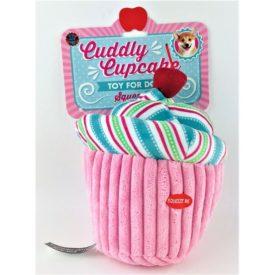 """Dog Toy Large Pink Cuddly Cupcake Plush w Squeaker 8"""" Tall"""