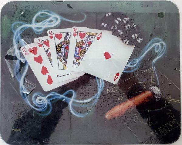 Michael Godard ROYAL FLUSH Las Vegas Gambling Poker Cigar Art Glass Cutting Board 12 x 15