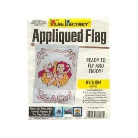 "28"" x 48"" Its a Girl Baby Applique Flag"