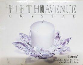 "Fifth Avenue Crystal Lotus Pillar Candleholder 7.5"""