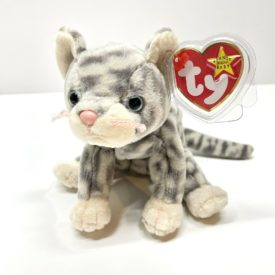 Ty Beanie Baby - Silver The Grey Tabby With Blue Eyes Cat