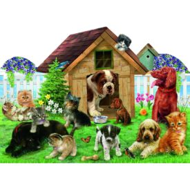 Welcome to The Playground Dogs & Cats 900 Piece Shaped Jigsaw Puzzle by SunsOut