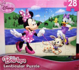 Disney Bowtique 28 Piece Lenticular Puzzle - Minnie & Daisy At Lake w/ Animal Friends
