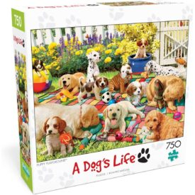 """Buffalo Games - Puppy Playground - 750 Piece Jigsaw Puzzle Multicolor, 24""""L X 18""""W"""