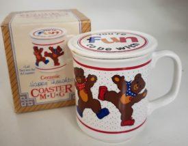 Vintage Ceramic Happy Thoughts Coaster Mug Set - Dancing Bears Coffee Mug w/ Lid