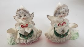 Vintage 1950s Commodore Spaghetti Porcelain Angel Candle Holders Japan