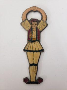 Vintage Bronze Enamel Greek Male Dancer Bottle Opener, Red Vest/Shoes