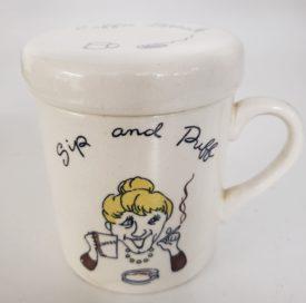Vintage 1960s Japan Ceramic Sip and Puff Ashtray Coffee Mug w/ Ashtray Lid