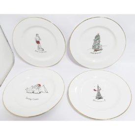 Merry Masterpieces International Collection 4 Dessert Plates Monuments