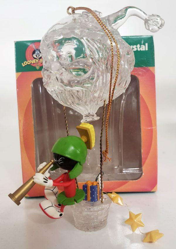 Looney Tunes Collectible Magic of Crystal Ornament - Marvin The Martian Crystal Santa Hot Air Balloon