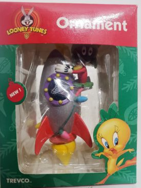 Looney Tunes Collectible Ornament - Marvin The Martian On Silver Rocket Ship