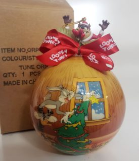 Looney Tunes Collectible Ball Ornament - Jack n'  The Box Taz Santa
