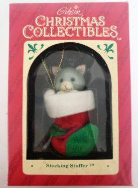 Gibson Christmas Collectibles Stocking Stuffer - Grey Kitten In Christmas Stocking