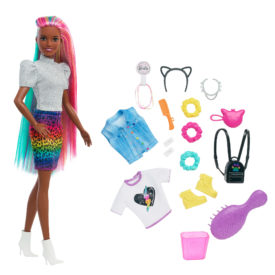 Barbie Leopard Rainbow Hair Doll With Color-Change Hair Feature, 16 Accessories