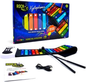 Rock and Roll It – Rainbow Xylophone. Portable & Flexible Standard Size Electronic Pad with 22 Color Coded Bars & Song Booklet. USB or Battery Powered, Built-In Speaker & Audio Output Support