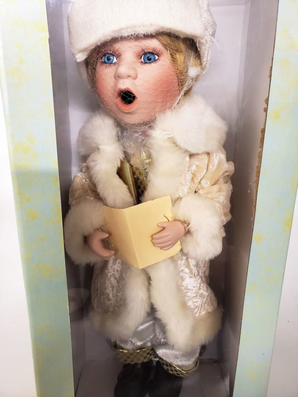 "Seasonal Elegance Elegant Caroling Porcelain Doll 17"" Ivory & Gold Outfit"