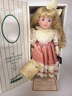 "Vintage 1989 Seymour Mann Porcelain Doll Prairie Girl ""Amber"" Hand-Crafted 17"""